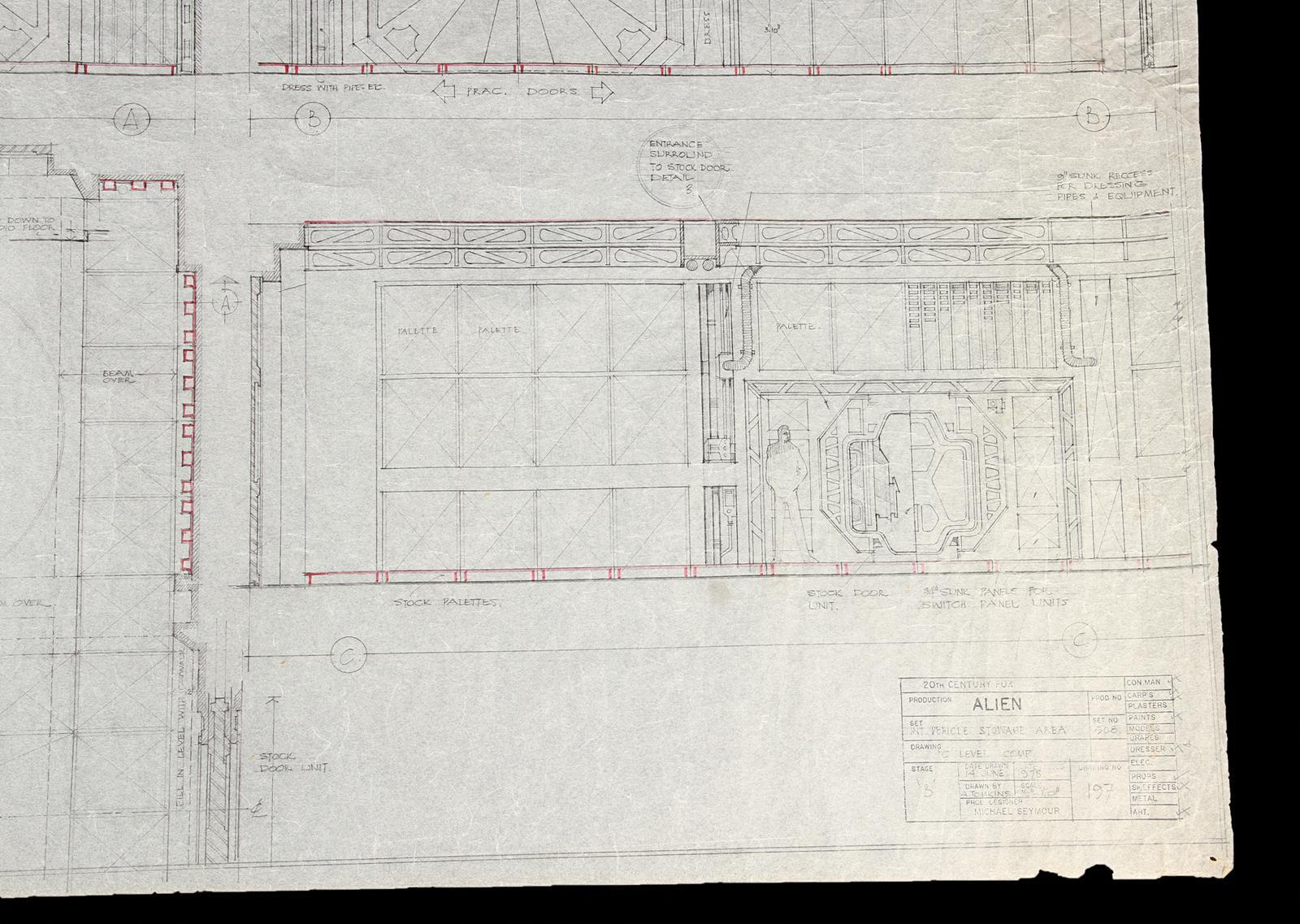ALIEN (1979) - Hand-Drawn Nostromo Hangar Pencil Illustration A hand-drawn pencil set illustration - Image 9 of 11