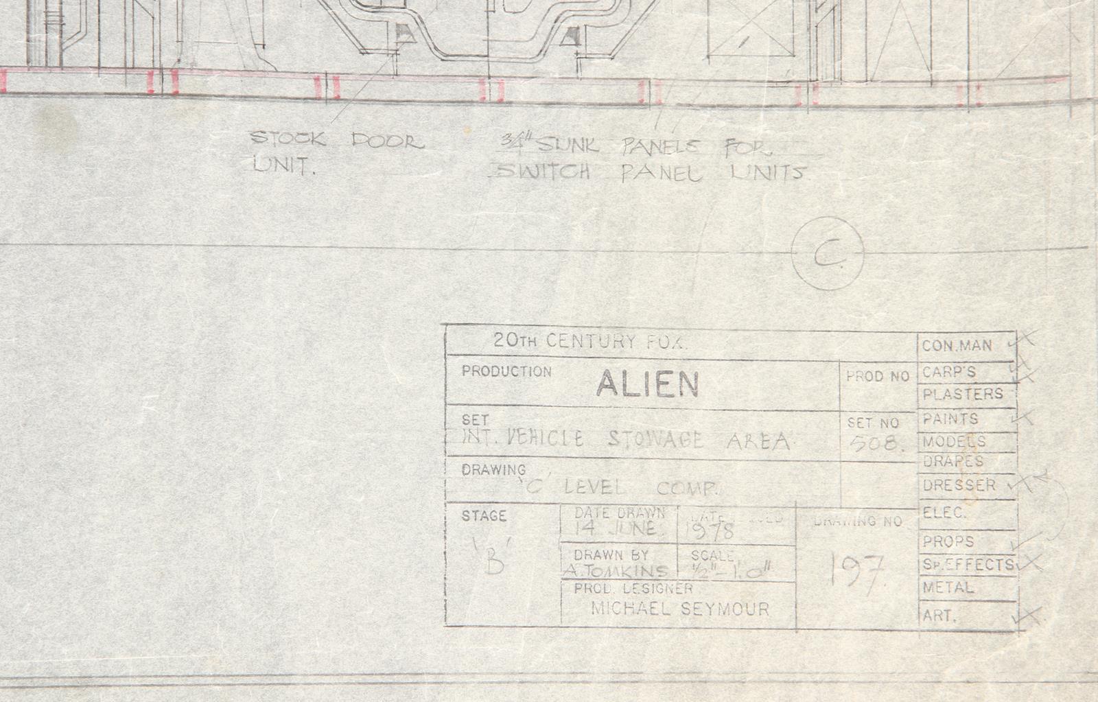 ALIEN (1979) - Hand-Drawn Nostromo Hangar Pencil Illustration A hand-drawn pencil set illustration - Image 10 of 11