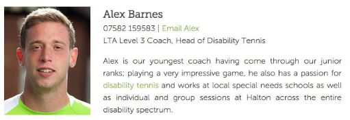 2hrs tennis coaching sessions with Alex Barnes LTA Level 3 coach at Halton Tennis Club. See http://