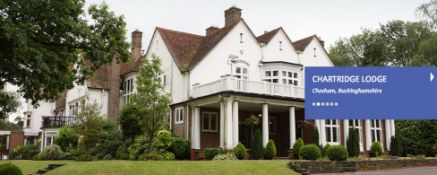 "1 nights stay at Chartridge Lodge Chesham in the Bridal Suite for 2 people including ""dinner at"