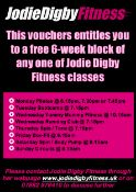 A free 6 week block of any one of Jodie Digby's fitness Classes. See image for details. See http://