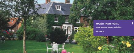Dinner + one night's bed and breakfast for 2 people at the Marsh Farm Hotel Wootton Basset. See