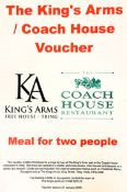 A two course meal for two at the King's Arms Pub or Coach House Restaurant in Tring. The meal can