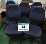 Five Blue Cloth Upholstered Swivel Chairs