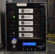 A THECUS N5200Pro NAS Hard Disc Array with Five 2.0TB Removable Hard Disc Drives