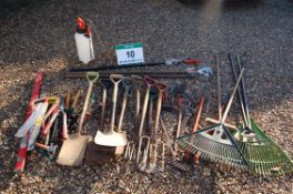 Thirty Five Pieces of Horticultural Hand Tools including Three Grass/Leaf Rakes, A Soft Broom, A