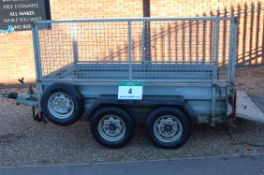 An INDESPENSION 2700Kg capacity Twin Axle Plant Trailer with Approx. 2.5M x 1.5M Bed, Triple Lock