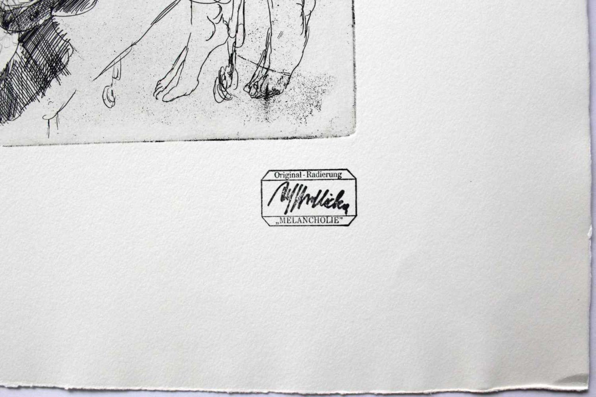 Alfred Hrdlicka 1928 - 2009 Melancholie Radierung Stempelsigniert und betitelt 50 x 65 cm - Bild 2 aus 2