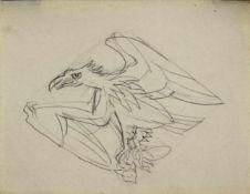 Ludwig Heinrich Jungnickel 1881-1965 Adler Graphit 16 x 12,5