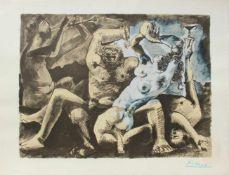"""Pablo Picasso 1881 - 1973 """"Bacchanale"""" 1955 Pochoir Lithographie stempelsigniert, Stempel Verso ("""""""