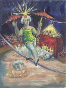 Heinz Steiner 1905 - 1974 Zirkus Aquarell unleserlich signiert 38 x 29 cm