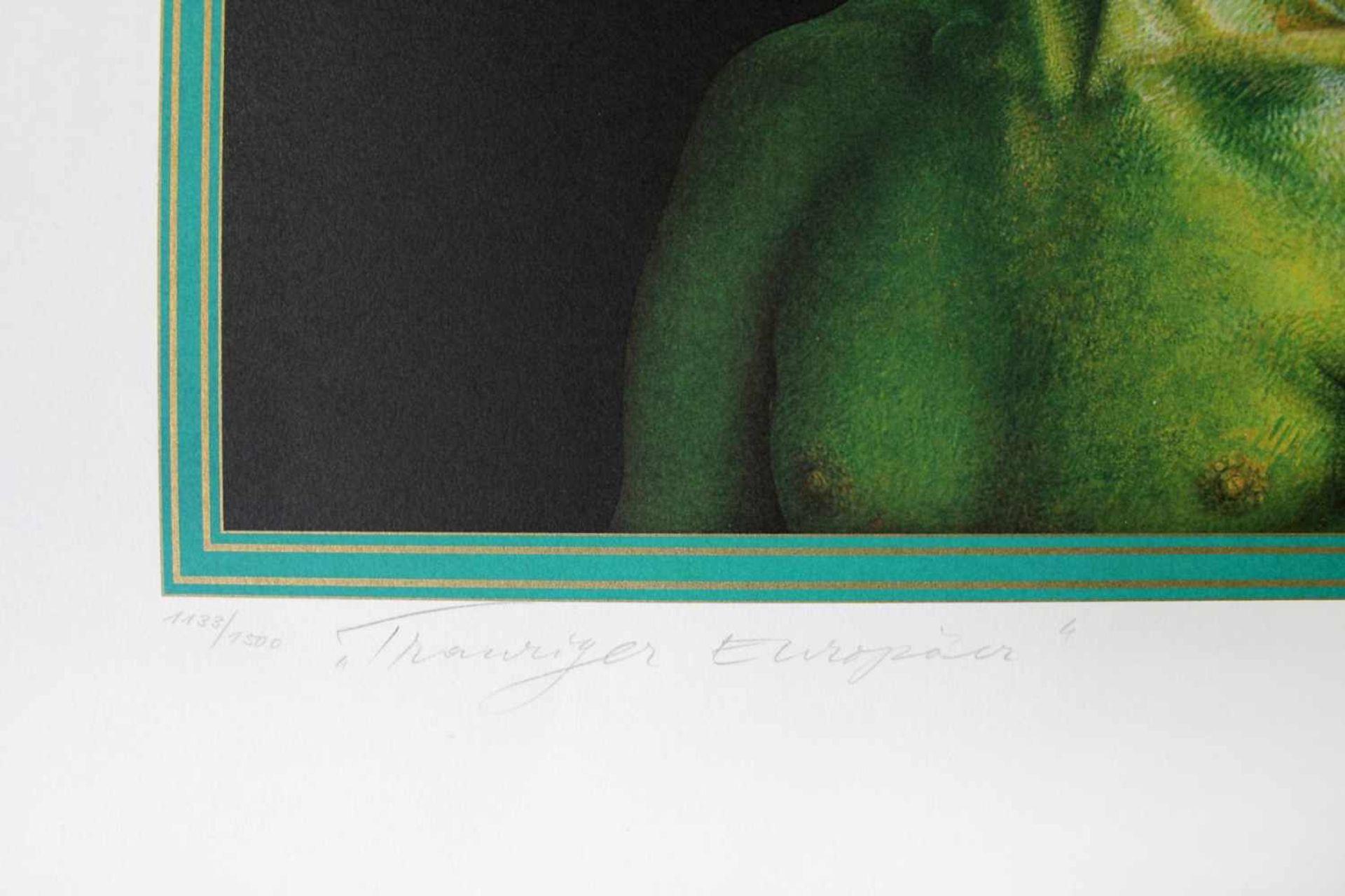 Rudolf Hausner 1914 - 1995 Trauriger Europäer Farbserigraphie handsigniert, betitelt und - Bild 4 aus 4