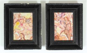 Wilhelm Kaufmann 1895 - 1975 Aktstudien 1948 Acryl auf Platte monogrammiert und datiert, beide