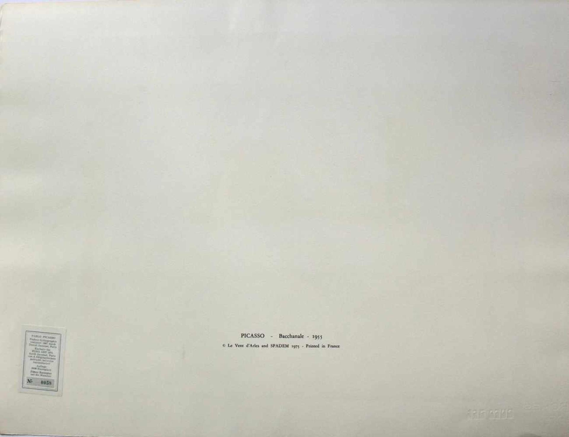 """Pablo Picasso 1881 - 1973 """"Bacchanale"""" 1955 Pochoir Lithographie stempelsigniert, Stempel Verso ("""" - Bild 3 aus 5"""