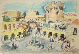 Otto Rüdenauer 1914-1978 Rhodos 1976 Aquarell signiert, datiert und betitelt, zwei kleine Risse 60 x