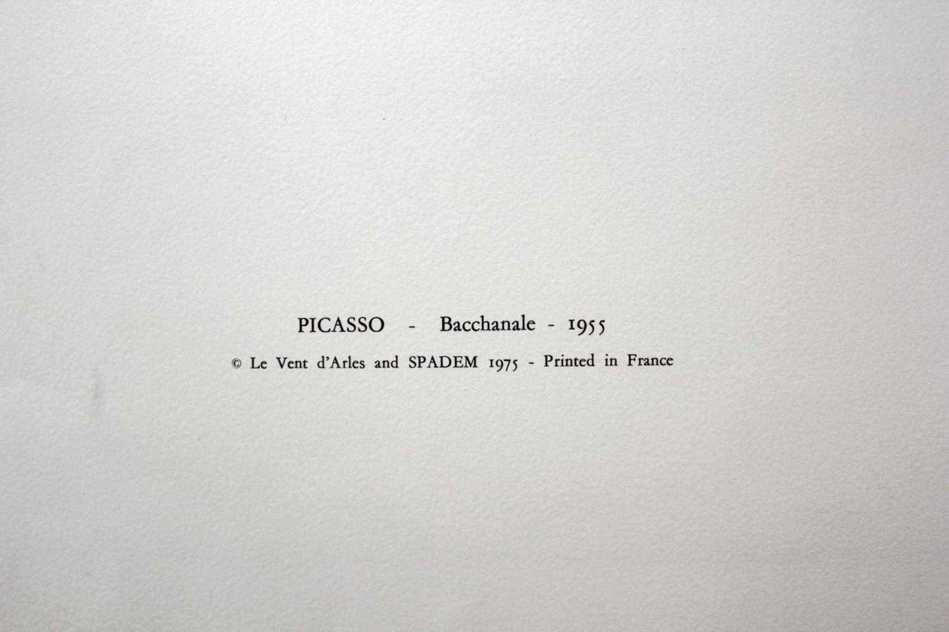 """Pablo Picasso 1881 - 1973 """"Bacchanale"""" 1955 Pochoir Lithographie stempelsigniert, Stempel Verso ("""" - Bild 4 aus 5"""