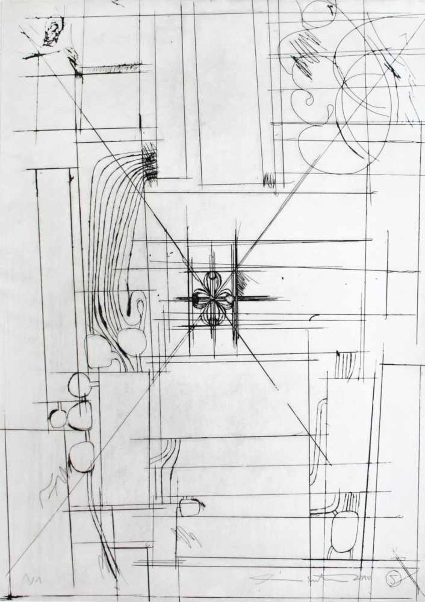Hermann Nitsch geb. 1938 o.T. 2010 Kaltnadelradierung handsigniert und nummeriert 1/1 68 x 48 cm