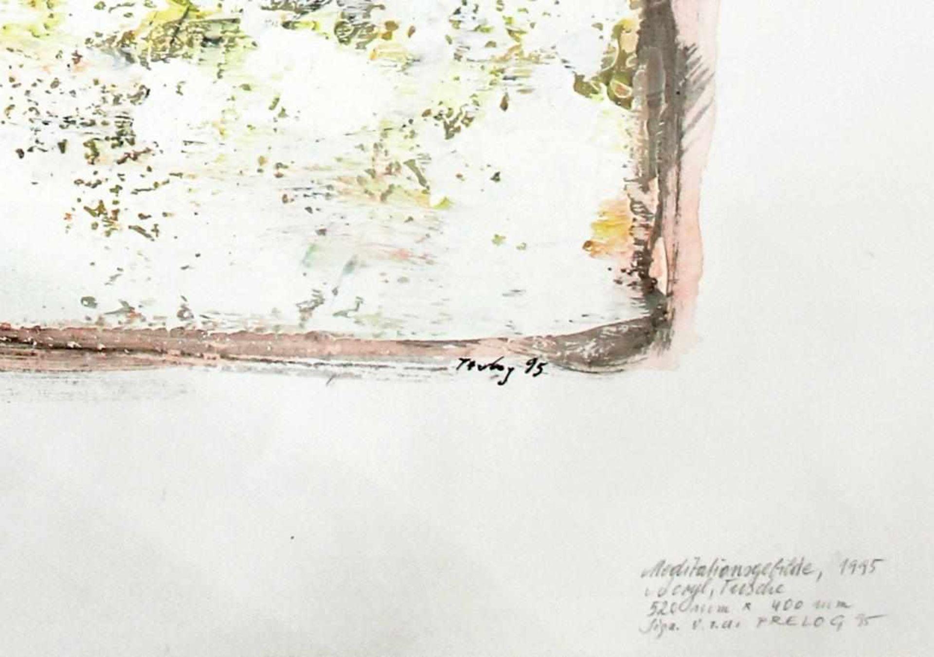 Drago Prelog geb. 1939 Meditationsgebilde 1995 Acryl und Tusche/Papier handsigniert, betitelt und - Bild 2 aus 2