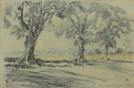 Oswald Roux 1880-1961 Deutsch-Altenburg 1918 Graphit und Pastell signiert, betitelt 31 x 47 cm