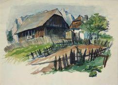 Oskar Zimmermann 1910-1994 Landschaft Aquarell handsigniert 44 x 60 cm