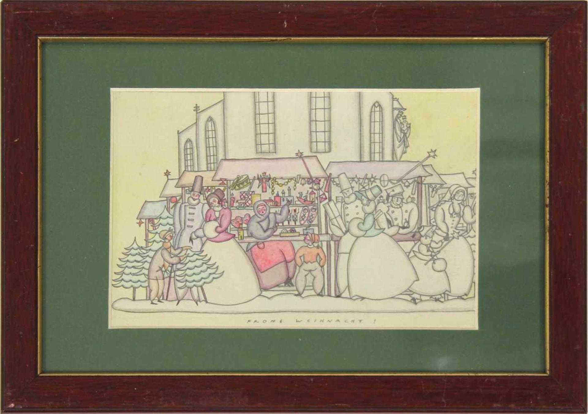 Grete Jelinek-Wiglitzki Weihnachtsmarkt um 1930 Graphit und Farbstift betitelt 14,5 x 24 cm - Bild 3 aus 4