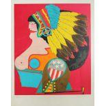 Richard Lindner 1901 - 1978 Miss American Indian 1969/1974 Farblithographie auf Arches-Bütten aus