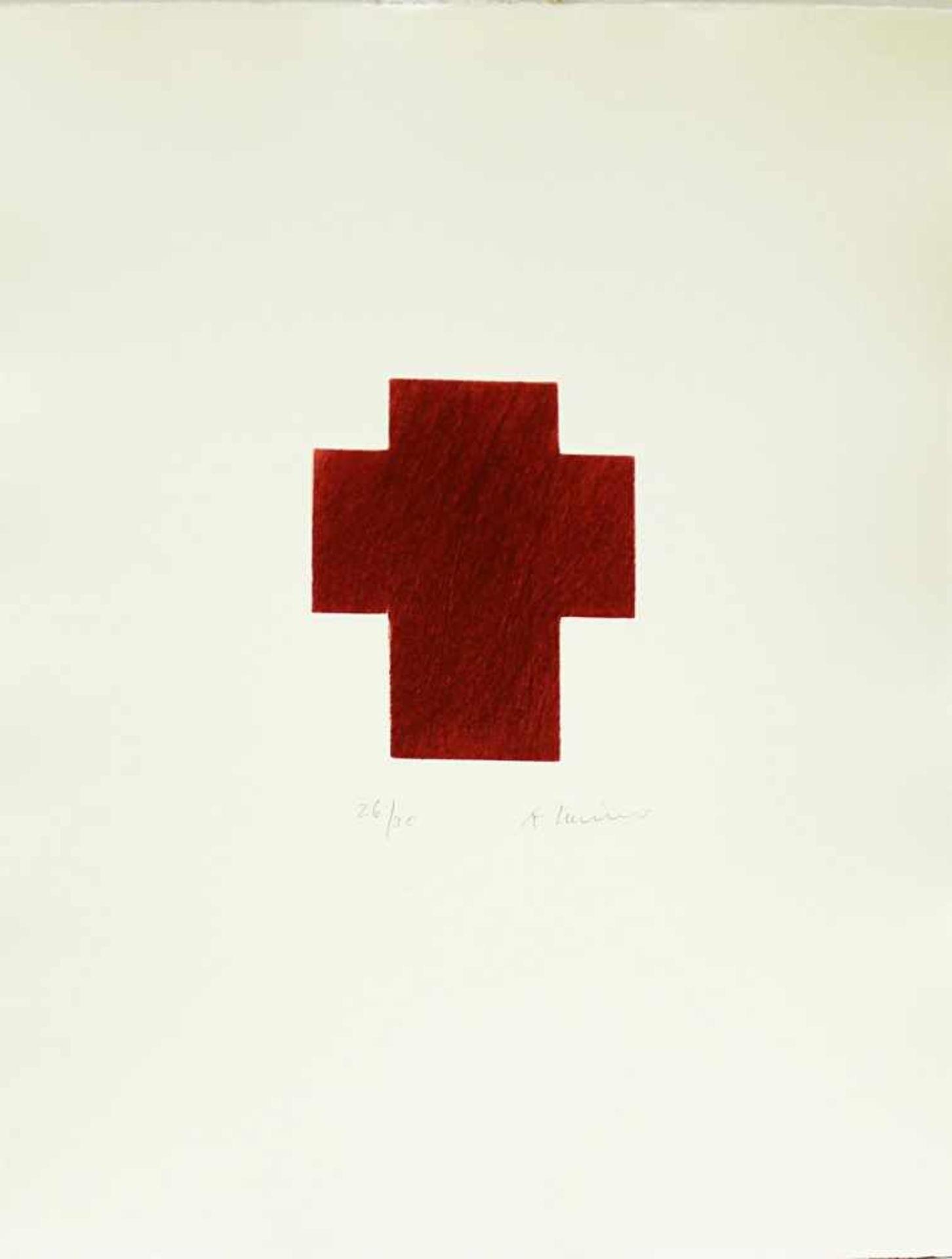 Arnulf Rainer geb. 1929 Kreuz Rot Dunkel 2009 Kaltnadelradierung handsigniert und nummeriert 26/30