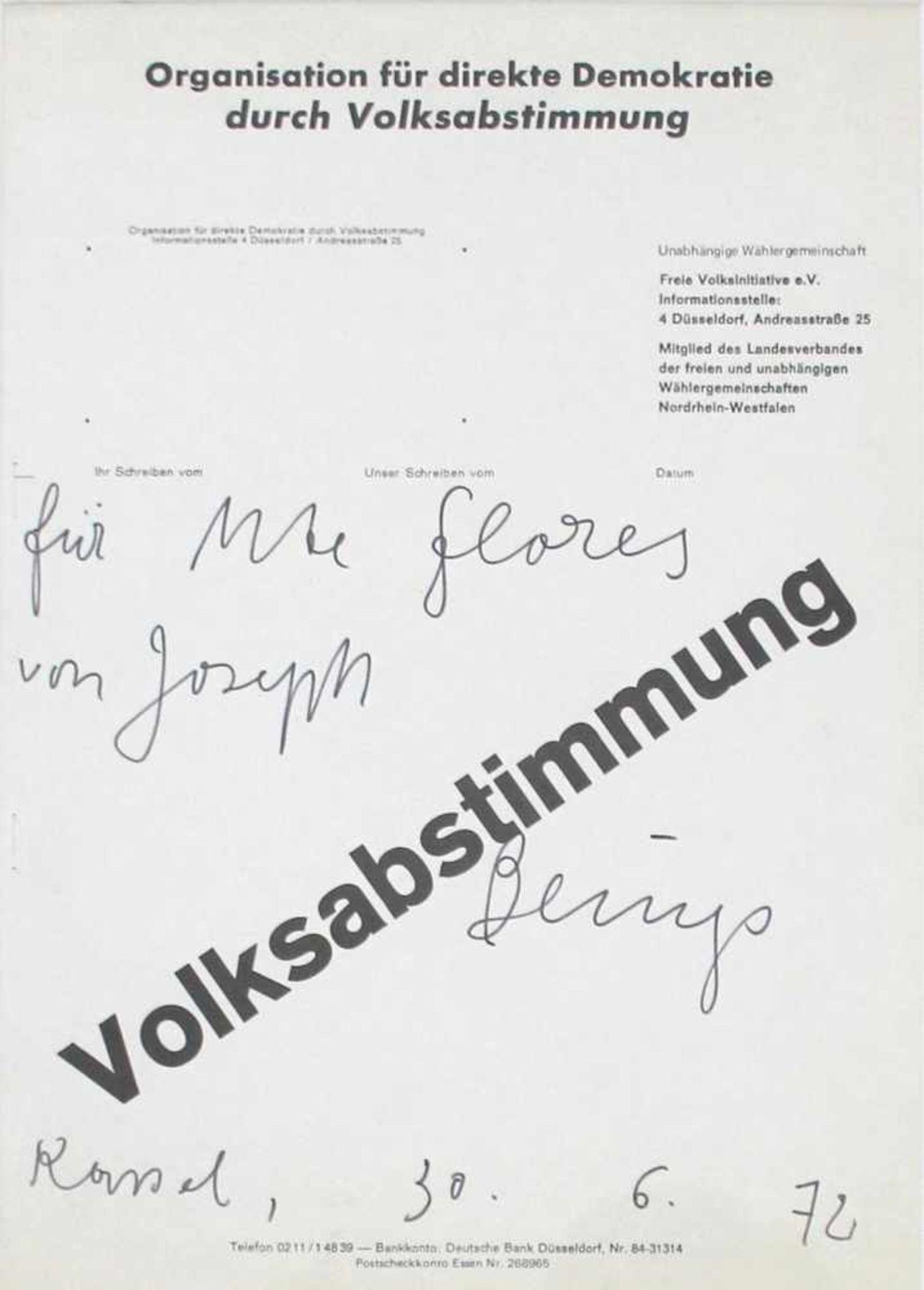"""Joseph Beuys 1921 - 1986 Volksabstimmung 1972 Widmung auf Offset-Plakat handschriftliche Widmung ("""""""