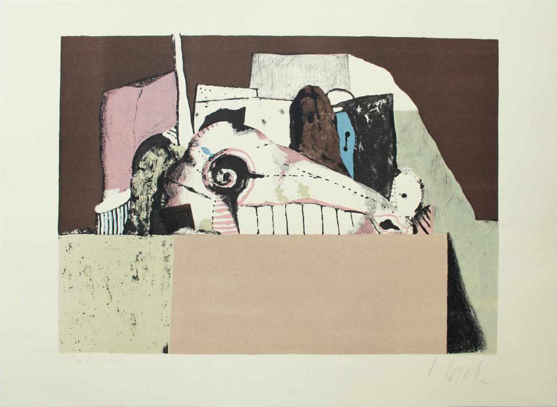 Karl Korab geb. 1937 o.T. 1972 Farblithographie handsigniert, Probedruck 45 x 62,5 cm