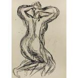 Gustav Hessing 1909-1981 Rückenakt kniend Tusche handsigniert 40 x 30 cm