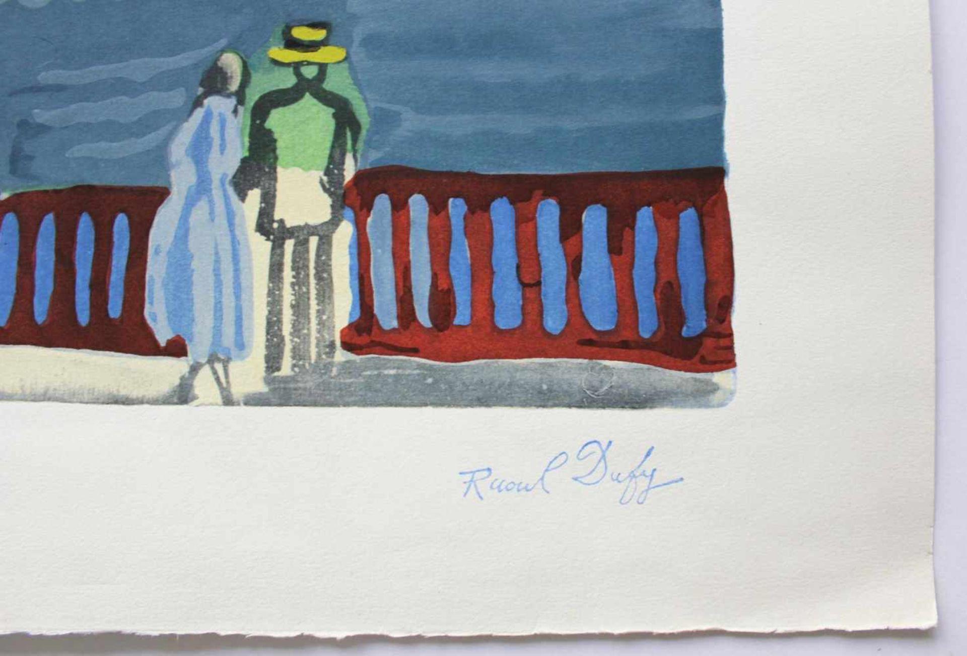 Raoul Dufy 1877 - 1953 Strandpromenade Lithographie stempelsigniert, nummeriert 301/5000 56 x 66 cm - Bild 2 aus 3