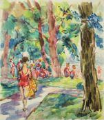 Georg Pevetz 1893-1971 Gänsehäufel Aquarell betitelt 40 x 34 cm