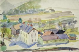 Ferdinand Stransky 1904-1981 Dörfliches Idyll 1926 Aquarell signiert und datiert 26,5 x 40 cm