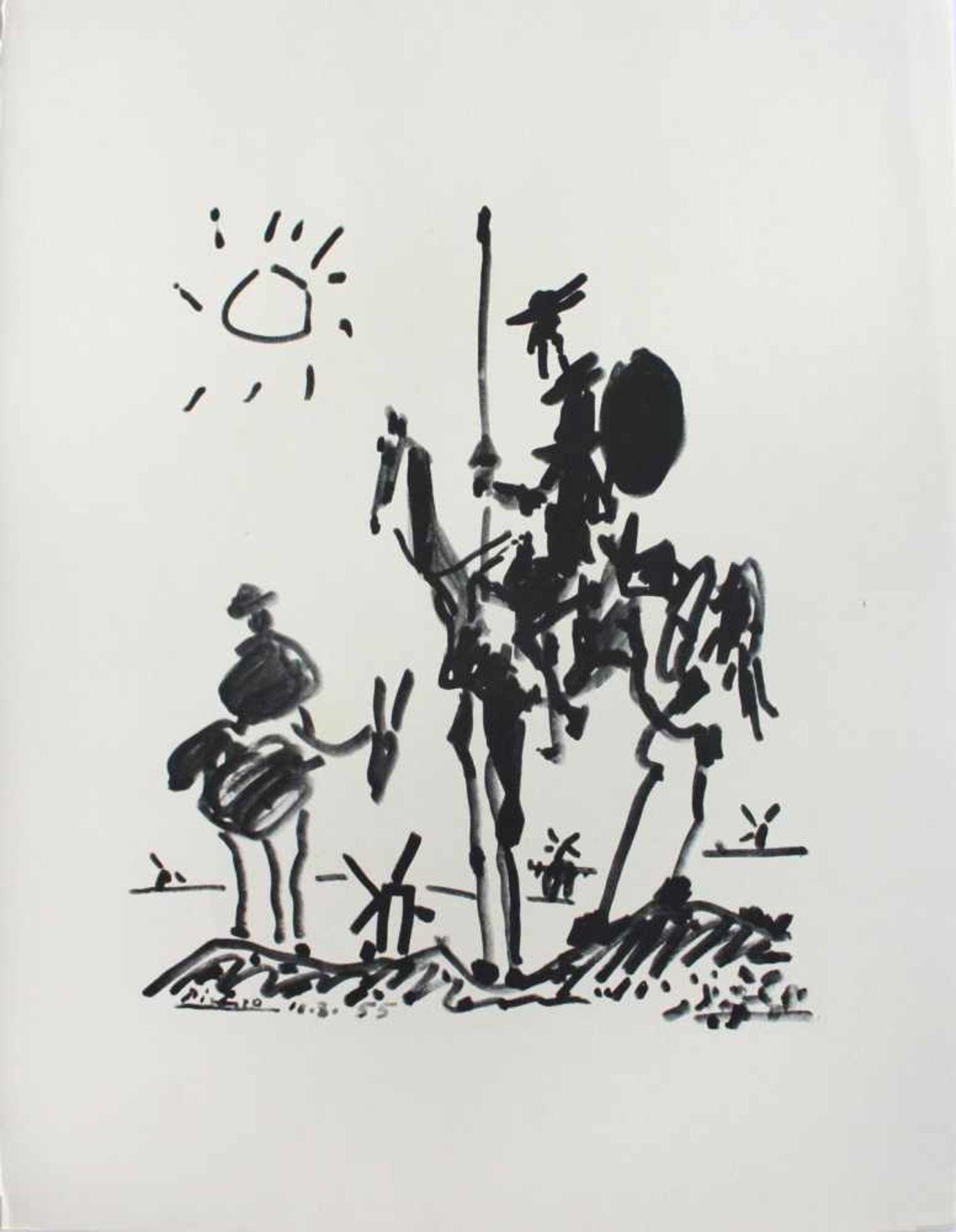 Pablo Picasso 1881 - 1973 Don Quichote und Sanjo Panza Pochoir Lithographie signatur und Datum