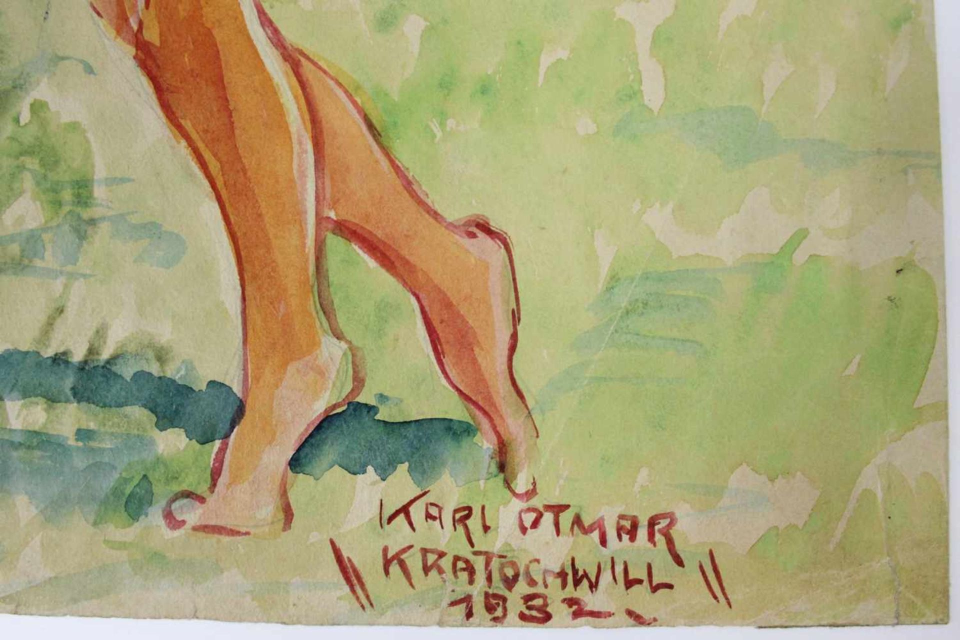 Karl Ottmar Kratochwill geb. 1910 Der Reigen 1932 Öl auf Papier handsigniert, datiert und betitelt - Bild 3 aus 5