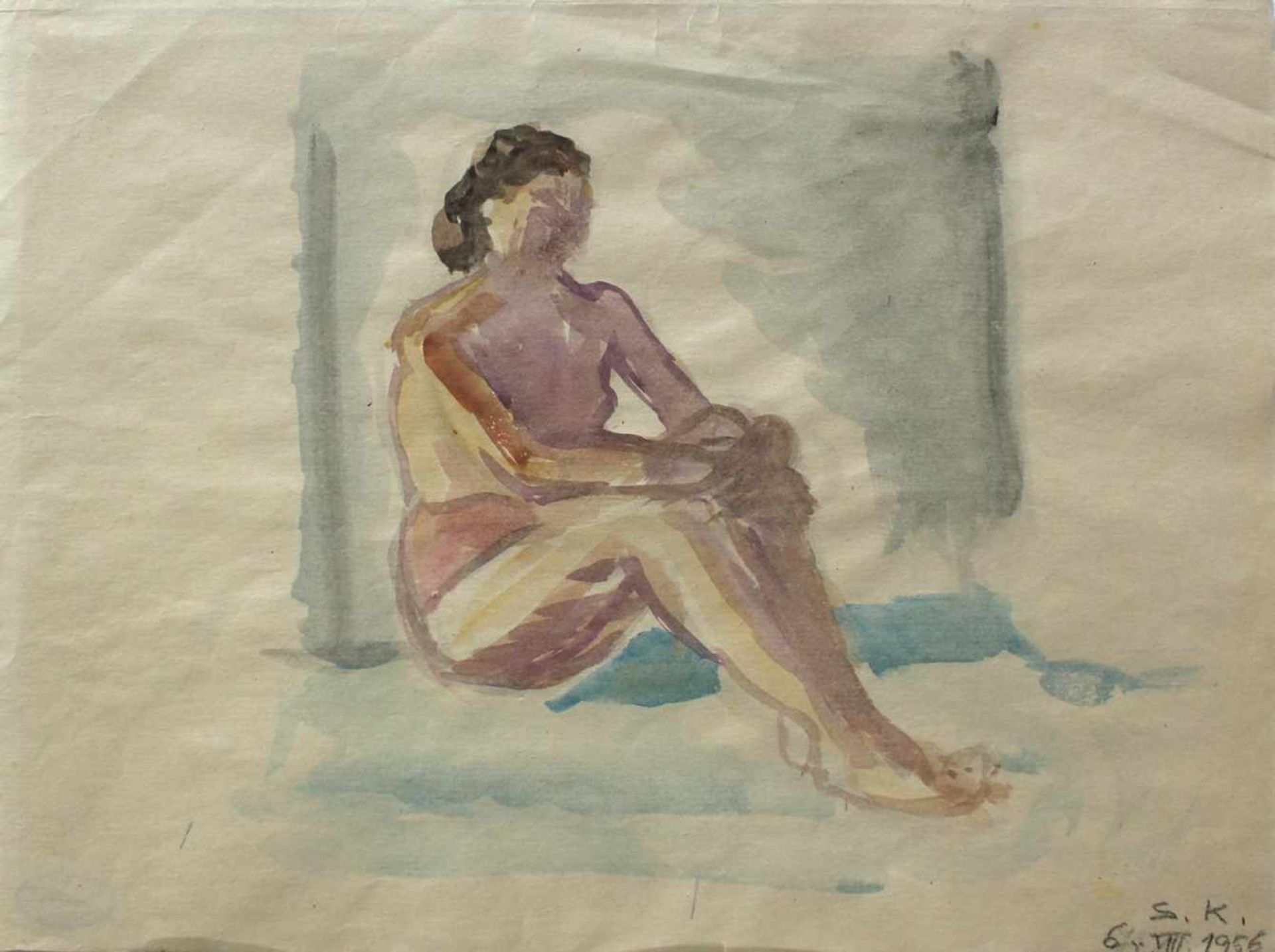 Silvia Koller 1942-2010 Aktstudie 1 1956 Aquarell monogrammiert und datiert (S.K. 6 VIII 1956) 30