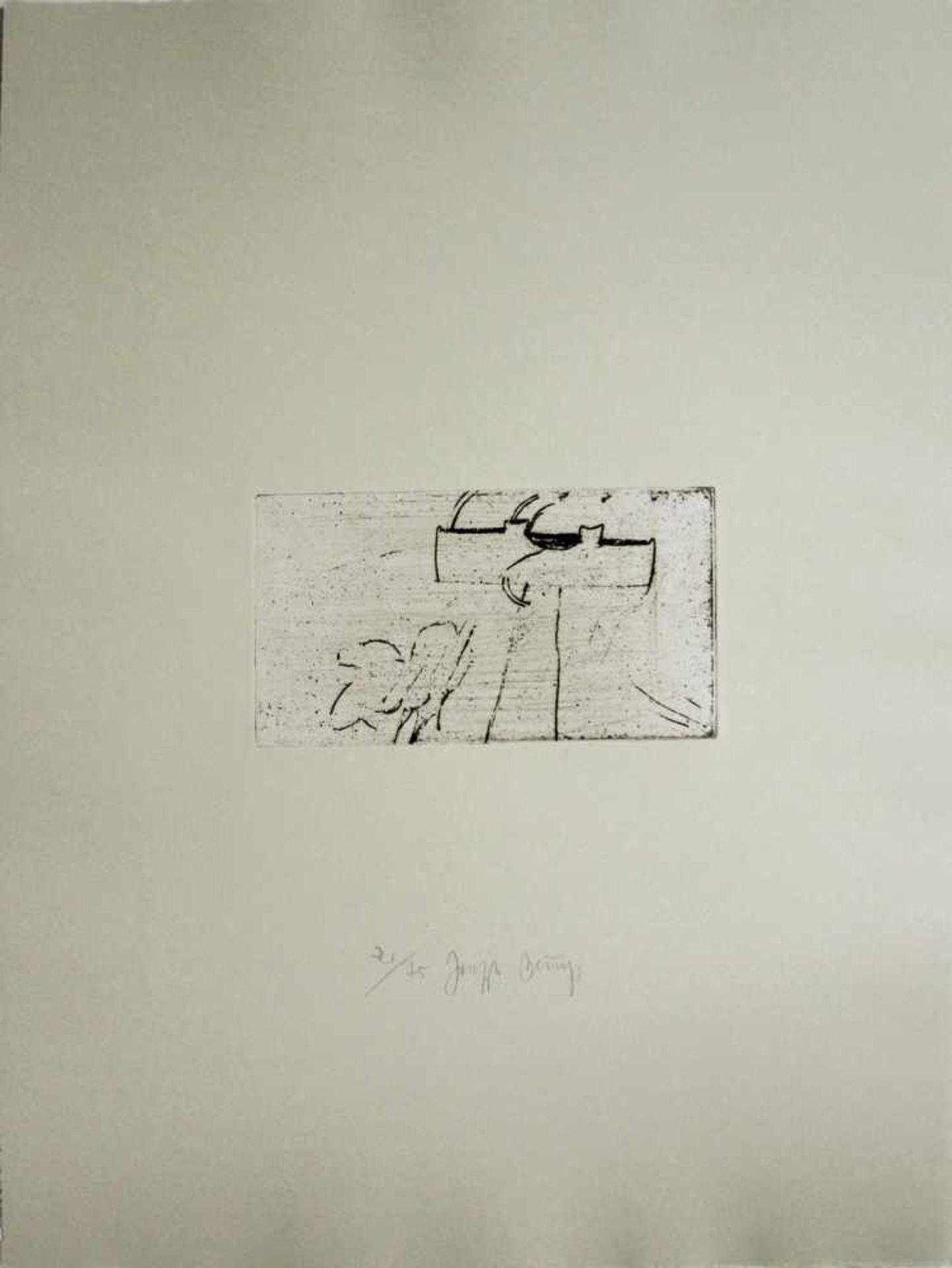 Joseph Beuys 1921 - 1986 Kreuz des Saturn 1953/1982 Kaltnadelradierung auf Rives Gris aus der