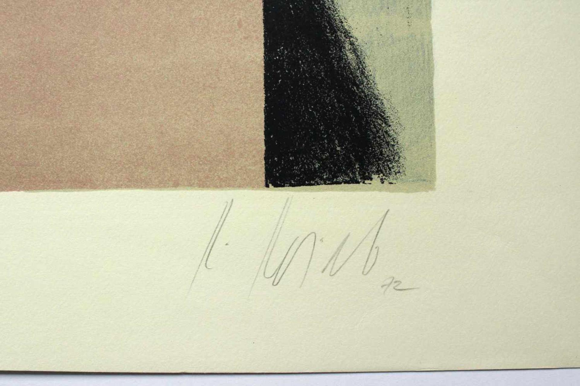 Karl Korab geb. 1937 o.T. 1972 Farblithographie handsigniert, Probedruck 45 x 62,5 cm - Bild 2 aus 3