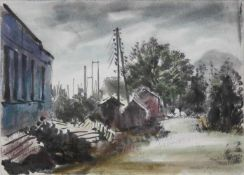 Viktor Pipal 1887-1971 Motiv an der Bahn Aquarell und Kohle signiert vorne, betitelt verso 17 x 24,5