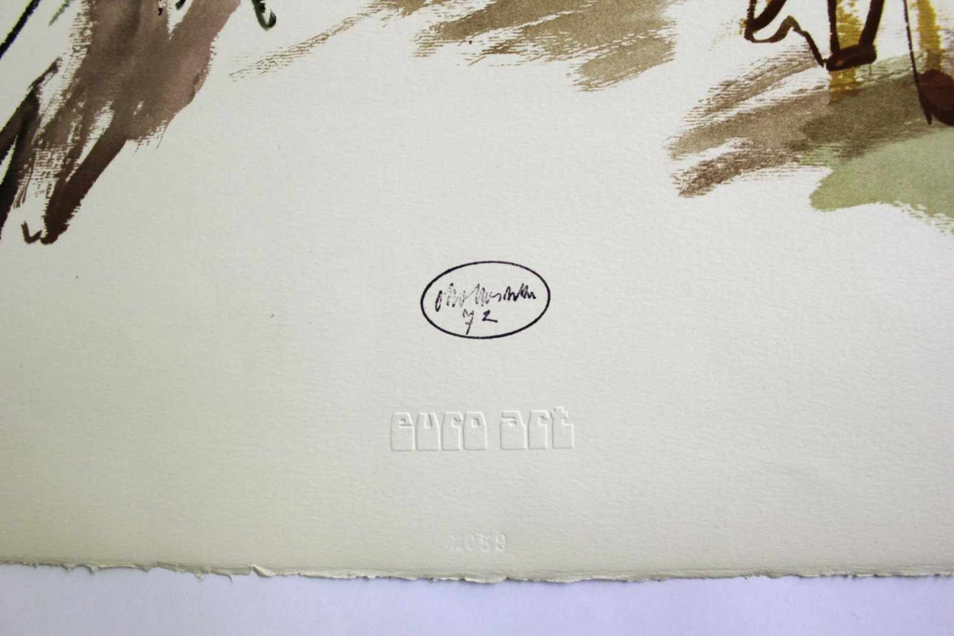 Oskar Kokoschka 1886 - 1980 Der Specht 1972 Lithographie stempelsigniert 66 x 47,5 cm - Bild 2 aus 2