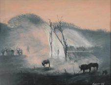 Harald Tribun Rohrer o.T. 1986 Pastellölkreide unleserlich signiert 42 x 54 cm