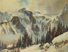 Stefan Praschl 1910-1994 Gebirgslandschaft 1958 Öl auf Holz signiert und datiert 40 x 52 cm