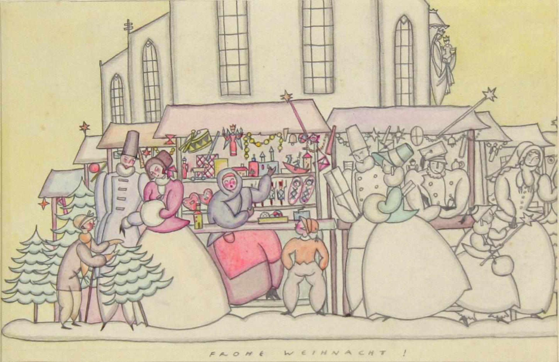 Grete Jelinek-Wiglitzki Weihnachtsmarkt um 1930 Graphit und Farbstift betitelt 14,5 x 24 cm
