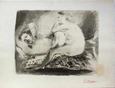 """Pablo Picasso 1881 - 1973 """"Le Dormeur"""" 1942 Pochoir Lithographie stempelsigniert, Stempel Verso ("""""""