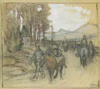 Oswald Roux 1880-1961 Reiterross Graphit und Pastell Nachlassstempel 26 x 30 cm