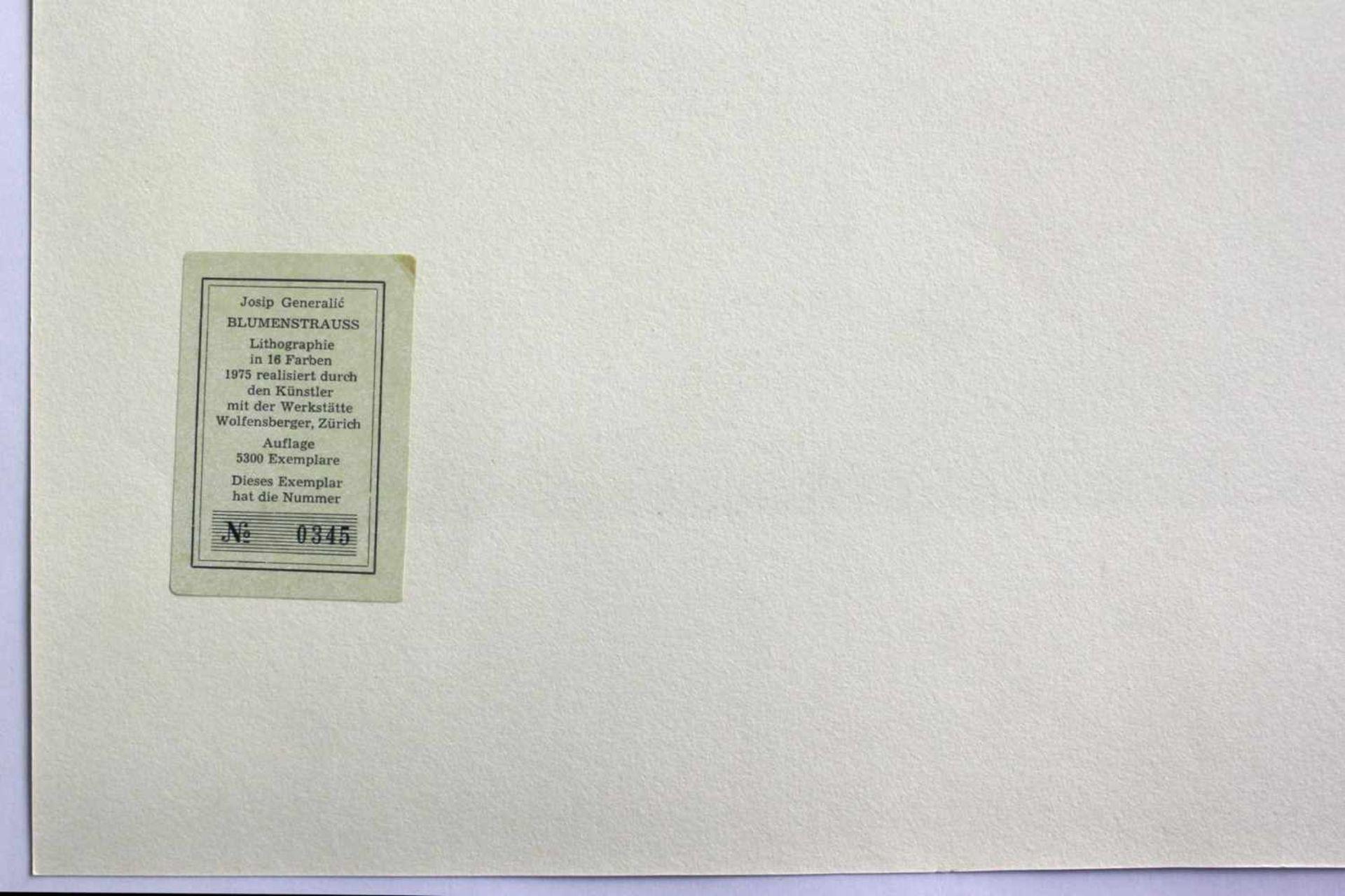 Josip Generalic 1914 - 1992 Blumenstrauß 1975 Lithographie 1975 realisiert, nummeriert 0345/5300 - Bild 3 aus 3