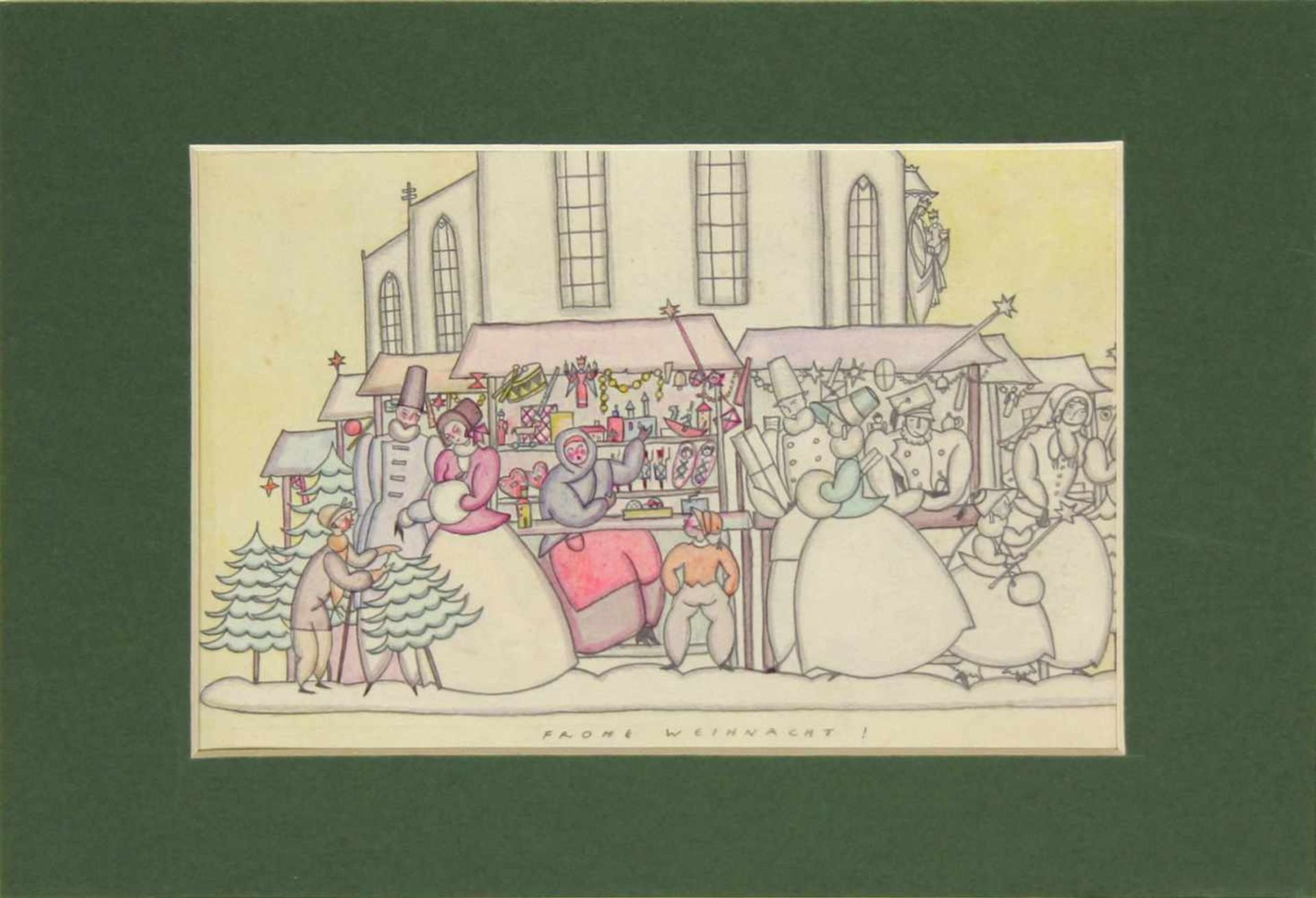 Grete Jelinek-Wiglitzki Weihnachtsmarkt um 1930 Graphit und Farbstift betitelt 14,5 x 24 cm - Bild 2 aus 4