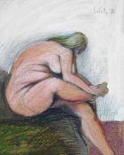 Alfred Kornberger geb. 1933 Sitzende seitlich 1976 Pastell Ölkreide signiert und datiert 46 x 37 cm