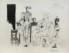 """Pablo Picasso 1881 - 1973 """"Deux Picaders et Femme"""" 1959 Pochoir Lithographie Stempel Verso (""""PICASSO"""