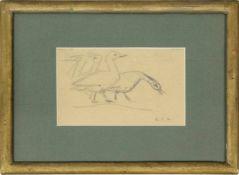 R.C.A. Gänse Graphit monogrammiert 12 x 20 cm